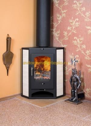 твердотопливная печь камин Бавария пристенно угловая с теплообменником