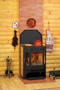 дровяная печь камин Бавария Призматик с теплообменником и плитой