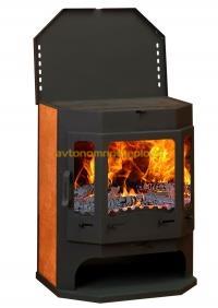 металлическая печь Бавария с плитой и теплообменником