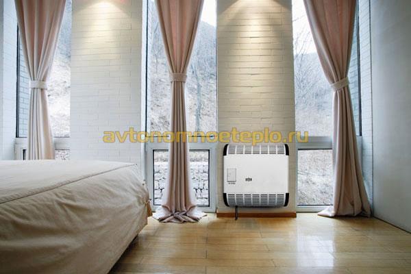 конвектор отопления Альпина установленный в комнате