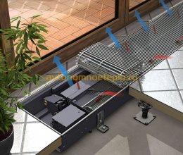 установка конвектора в регулируемом полу