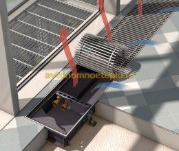 установленный конвектор в бетонном полу