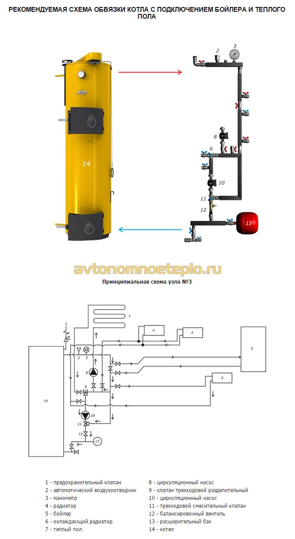 схема обвязки с подключением бойлера косвенного нагрева и тёплого пола