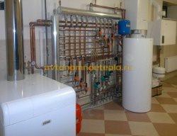 установленный и обвязанный напольный агрегат