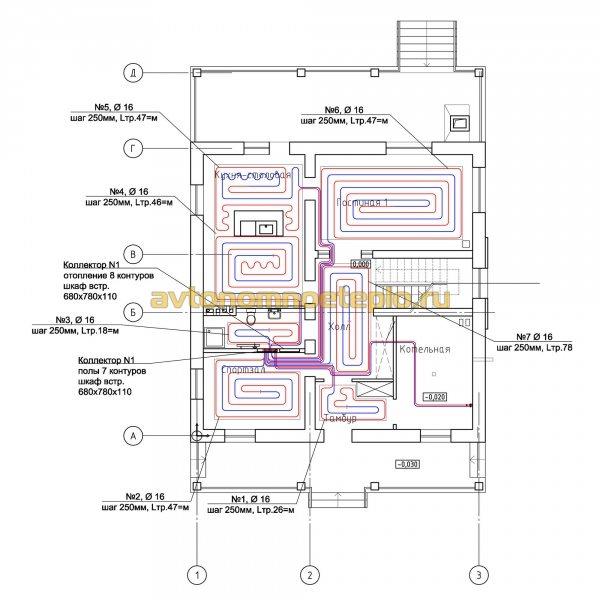 схема раскладки контуров водяного отопления дома по полу