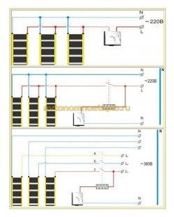три схемы подключения термостатов к ИК полам