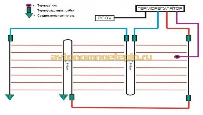 схема подключения карбонового пола к электросети