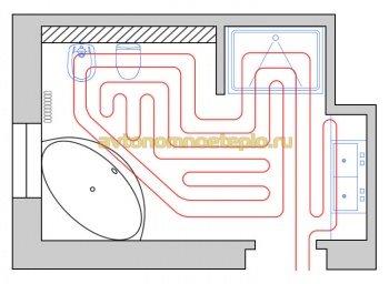 схема укладки трубы на полу помещения ванной
