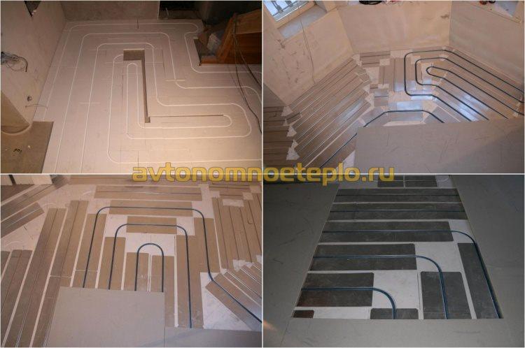 пол на полистирольных плитах и распределительных пластинах