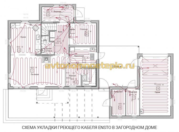 подробная схема укладки греющего кабеля Ensto в частном доме