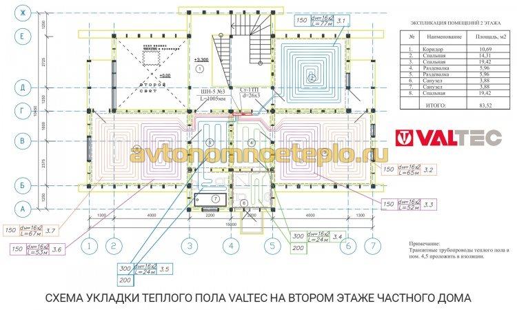 схема монтажа теплого пола Valtec на втором этаже частного дома