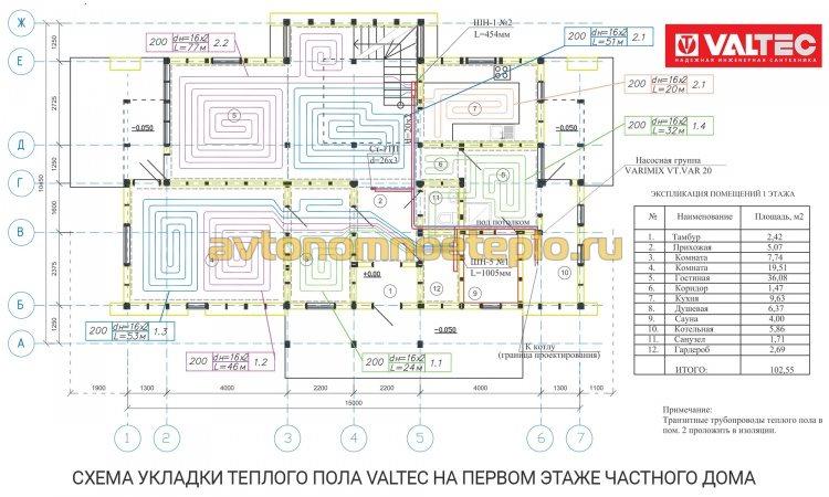 проект укладки трубы водяного пола Valtec на первом этаже загородного дома