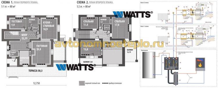 комбинированное отопление с использованием оборудования Watts