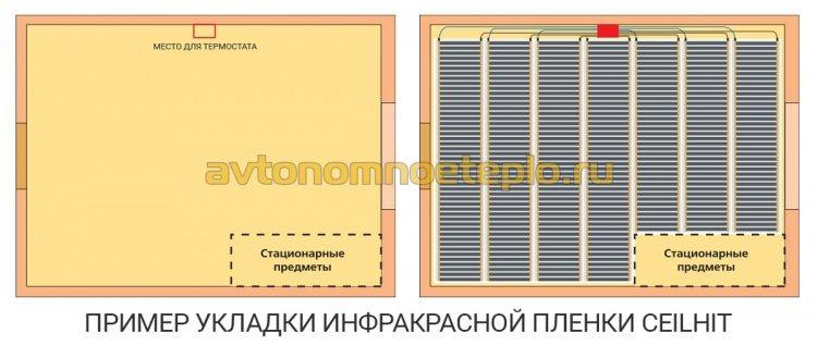 схема укладки ИК плёнки Ceilhit