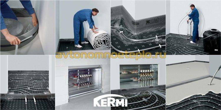 схема поэтапной укладки жидкого пола марки Kermi