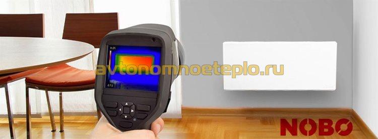 равномерное распределение тепла от прибора Nobo на экране тепловизора