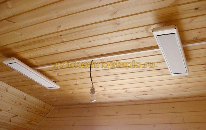 два ИК обогревателя Almac в деревянном доме