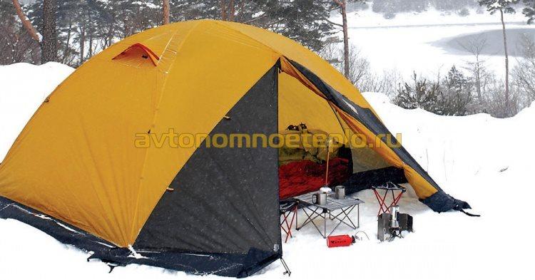 обогрев палатки обогревателем Kovea