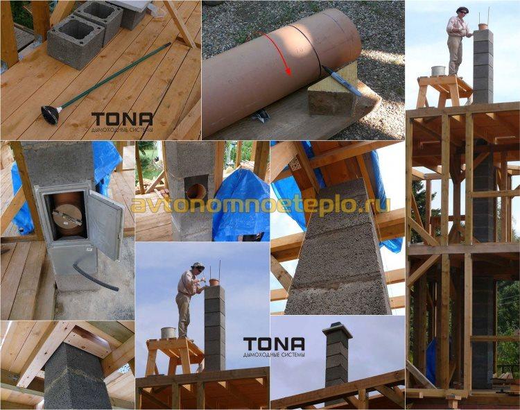 монтаж керамической дымоходной системы Tona