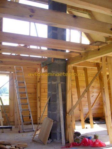 готовый керамический дымоход в строящемся деревянном доме