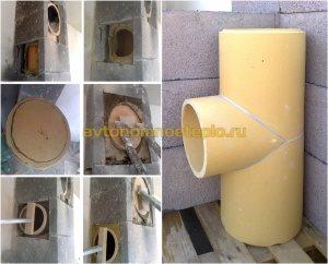 поэтапная врезка и установка бокового отвода от керамической трубы