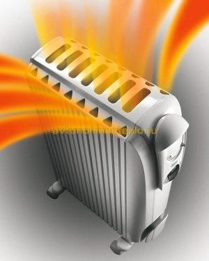 схема конвекционных потоков нагретого воздуха в маслянном радиаторе DeLonghi