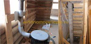 дровяная печь, подключенная к асботрубе