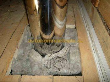 заполнение промежутка в проходке дымоходной трубы каменной ватой