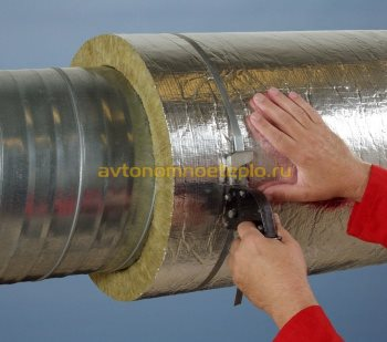 крепление базальтового утеплителя на трубе