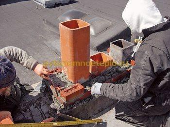 комбинированная дымоходная система с керамической трубой обложенной кирпичом