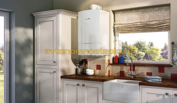 котел быздымоходного типа установленный на кухне