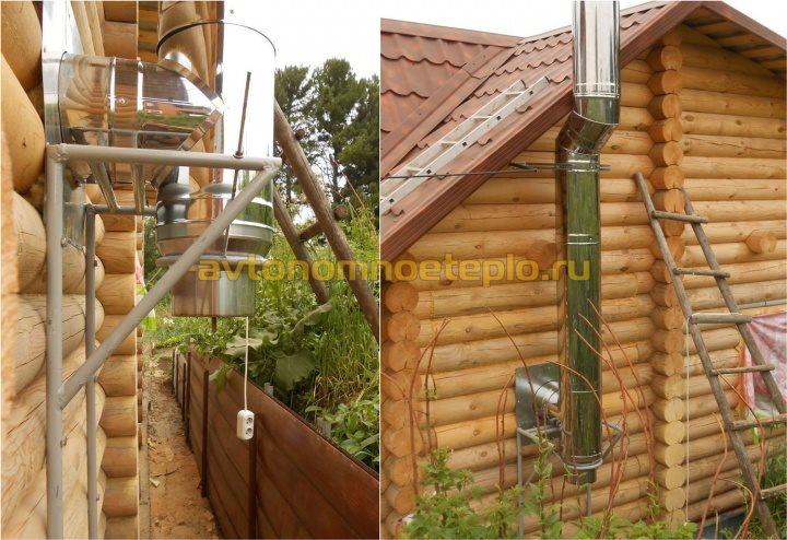 установка сэндвич трубы на внешней стене деревянного бревенчатого дома