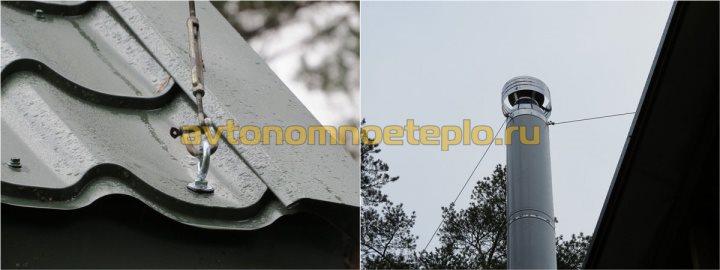 установка растяжек трубы на крыше
