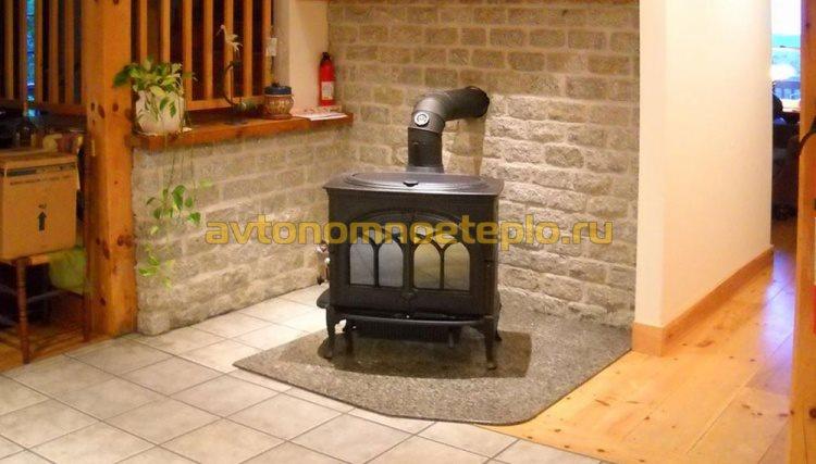 подключение печи-камина к дымоходу из кирпича