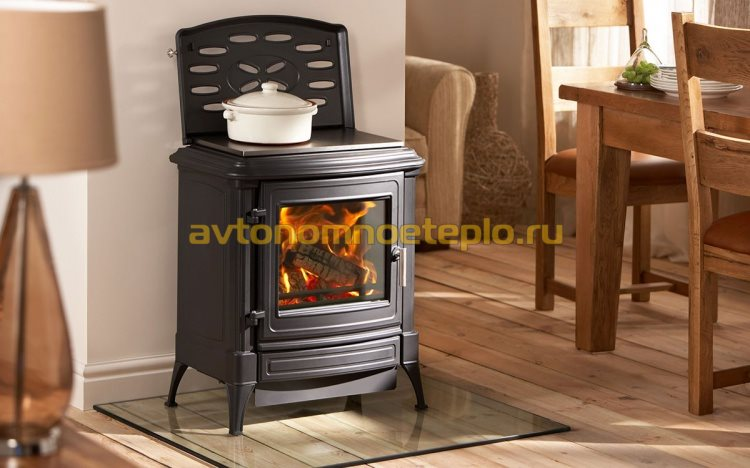 печь-камин с подсоединением к дымоходу с обратной стороны