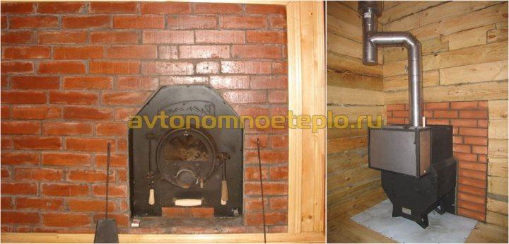 печка Бренеран с навесным баком для нагрева воды