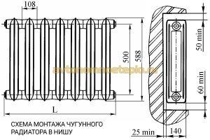 схема крепления чугунного радиатора в нишу