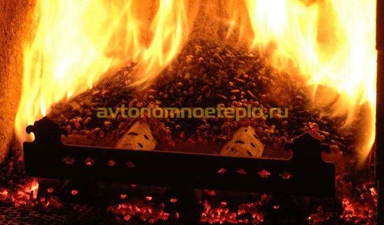горение пеллет без горелки