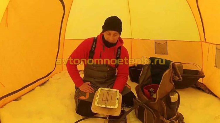 газовый ИК излучатель в палатке