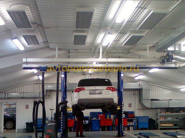 подвесные ИК обогреватели в гараже