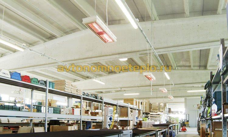 подвесные ИК обогреватели в цехе предприятия