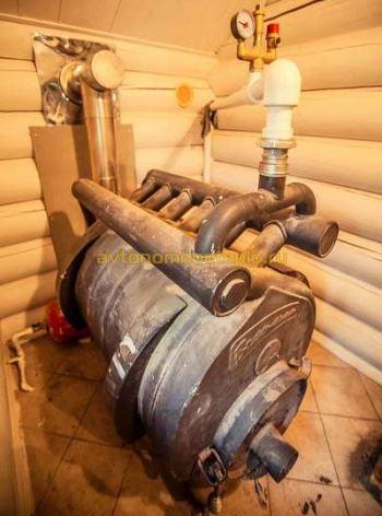 печь Аква Бренеран подключенная к системе отопления