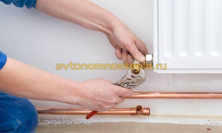 монтаж системы медной трубой