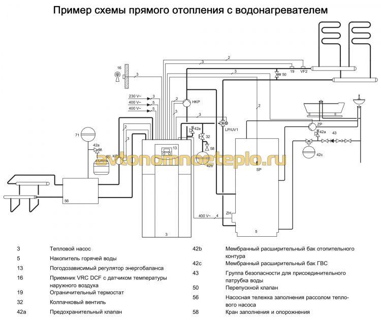 схема обвязки теплонасоса с водонагревателем