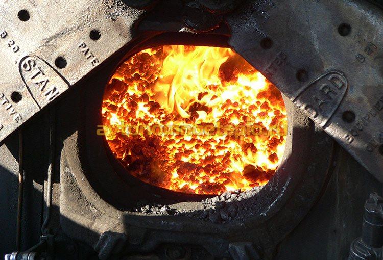 горение угля в паровом котле