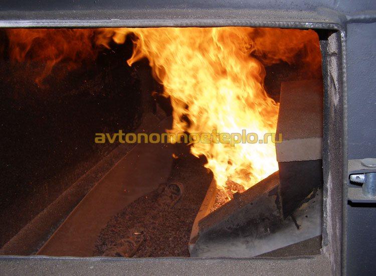 сжигание угля на поршневой горелке