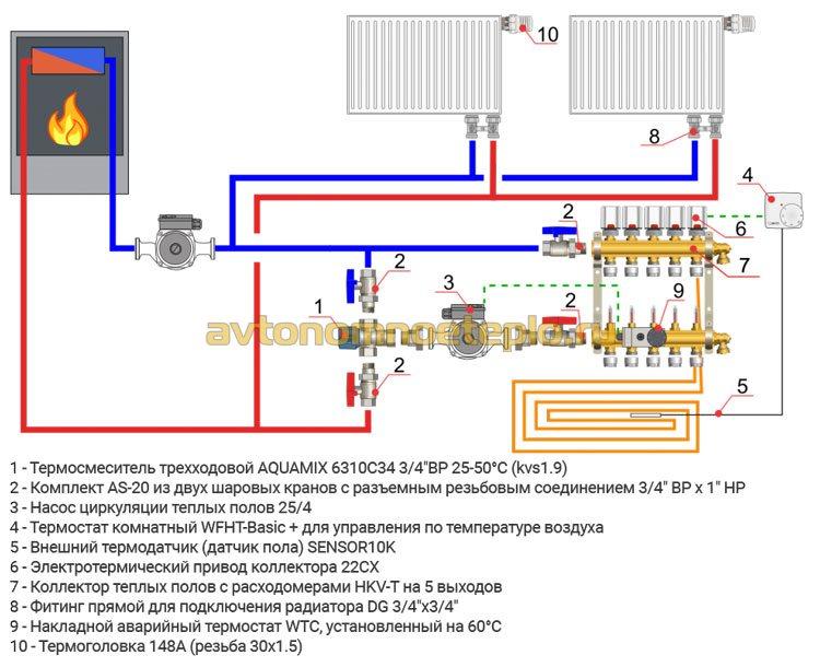 вариант обвязки термостатического клапана в системе отопления