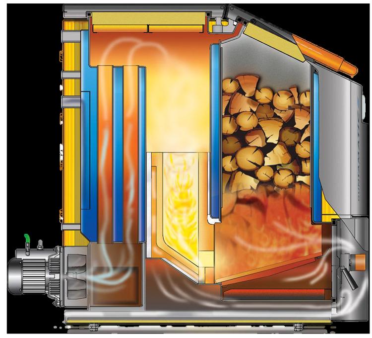 котел газогенератор с верхней укладкой топлива