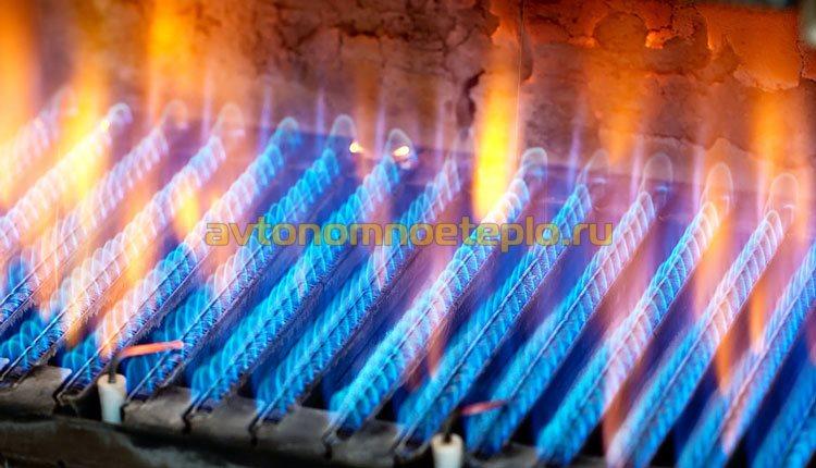 горение газа на горелке в котле