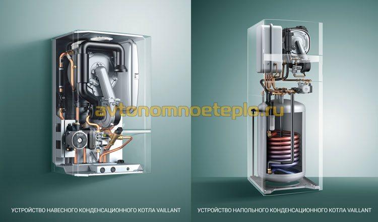 внутреннее устройство навесного и напольного конденсационного котла от Вайлант